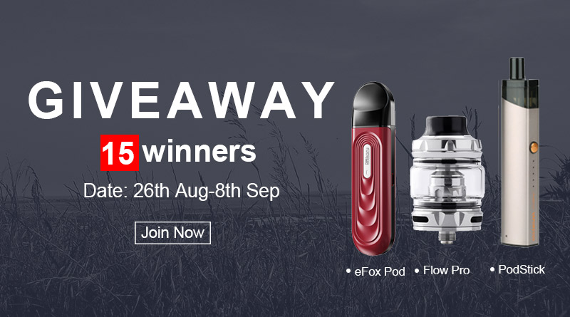 HealthCabinさんのGiveaway企画|Wofoto Flow/Vaporesso PodStick/Sikary eFoxが当たります